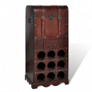 Botellero de madera para 9 botellas baúl con cajón