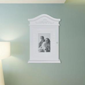 Armario para llaves con marco de fotos blanco