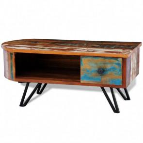 Mesa de centro vintage de madera reciclada y patas de hierro