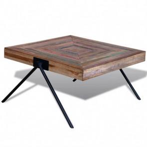 Mesa de centro con patas en forma de V madera de teca reciclada