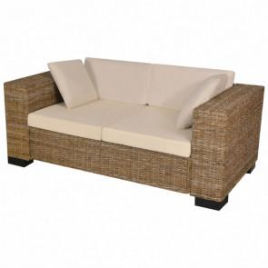 Conjunto de sofá de dos plazas 7 piezas ratán real