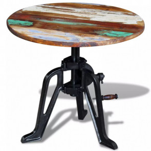 Mesita auxiliar madera reciclada y hierro fundido 60x42-63 cm.