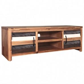 Mueble para TV de madera maciza de acacia 120x35x40 cm