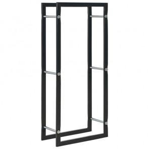 Leñero de acero negro 44x20x100 cm