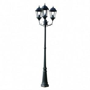 Farola de jardín verde oscura/negra de 230 cm, 3 luces