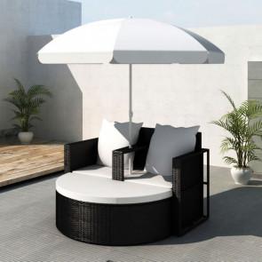 Conjunto de diván negro de poli ratán del jardín con parasol