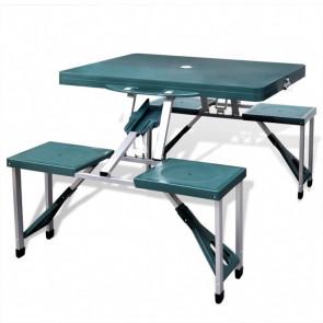 Set plegable camping 1 mesa 4 taburetes aluminio verde claro