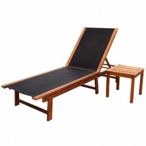 Tumbona con mesita de madera maciza de acacia y textilene