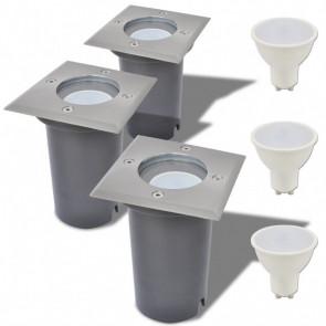 Focos LED empotrables de suelo para exteriores 3 unids cuadrados