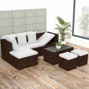 Conjunto de muebles de jardín 12 piezas poli ratán marrón