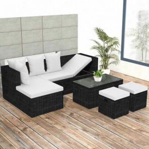 Conjunto de muebles de jardín 12 piezas poli ratán negro