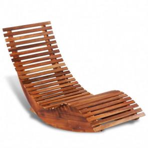 Tumbona mecedora de madera de acacia