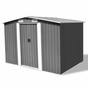 Caseta de jardín de metal 257x205x178 cm gris