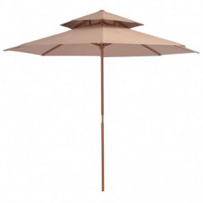 Sombrilla de dos pisos palo de madera 270 cm gris topo