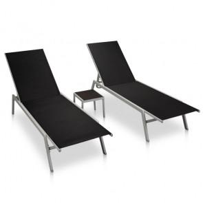 Tumbonas con mesita 2 unidades de acero y textilene negro