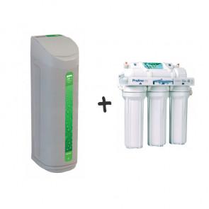 Kit descalcificador volumétrico + osmosis 5 etapas para viviendas de hasta 4 personas