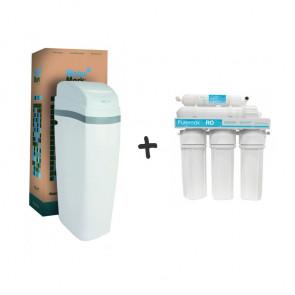 Kit descalcificador de bajo consumo + ósmosis de 5 etapas para viviendas de hasta 4 personas