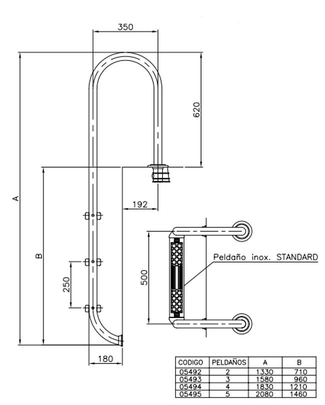 Escalera para piscina muro con pelda os standard astralpool for Dimensiones de escaleras