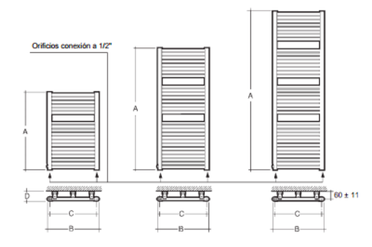 Radiador toallero cl60 baxi for Radiador toallero agua