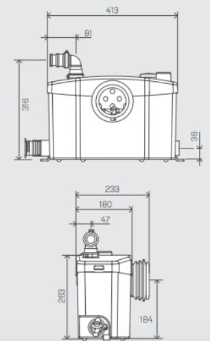 esquema medidas bomba trituradora sanipro