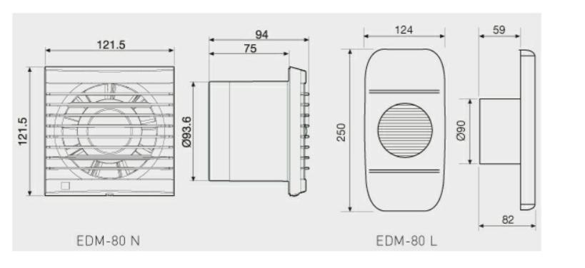 Extractor de ba o edm 80n s p - Instalacion extractor bano ...