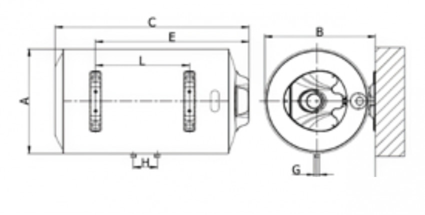 Medidas termo eléctrico Ferroli Tiber C horizontal