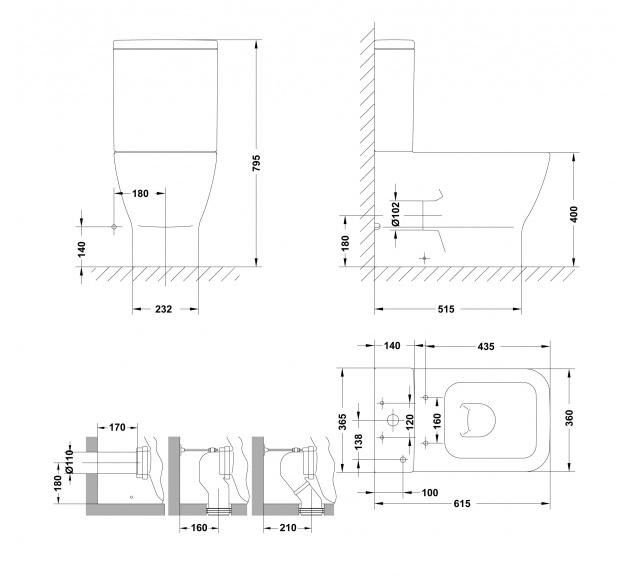 Inodoro gala emma square compacto salida dual con asiento fijo - Inodoros pequenos medidas ...