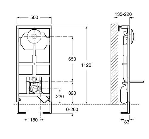 Bastidor para inodoro roca wc fluxor for Medidas de inodoros roca