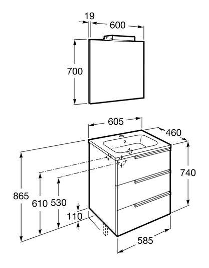 Medidas Griferia Baño:Conjunto completo Roca Pack Victoria-N Family 60 cm Blanco Brillo