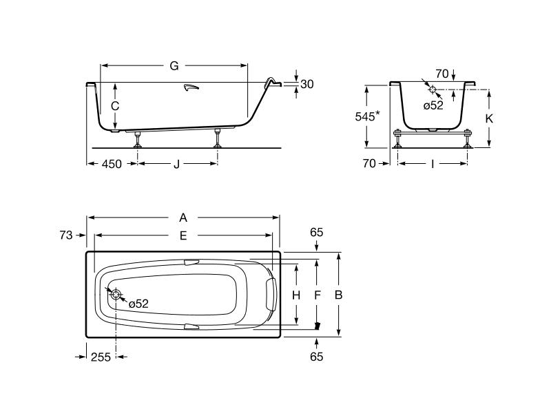 Bañera acrílica con hidromasaje Total Sureste-N medidas: 1600x700 mm color blanco