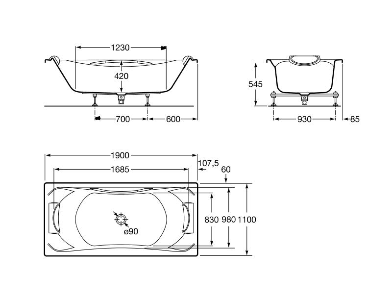 Bañera acrílica rectangular con asas y juego de desagüe BeCool Roca 1900x1100x420 mm color blanco