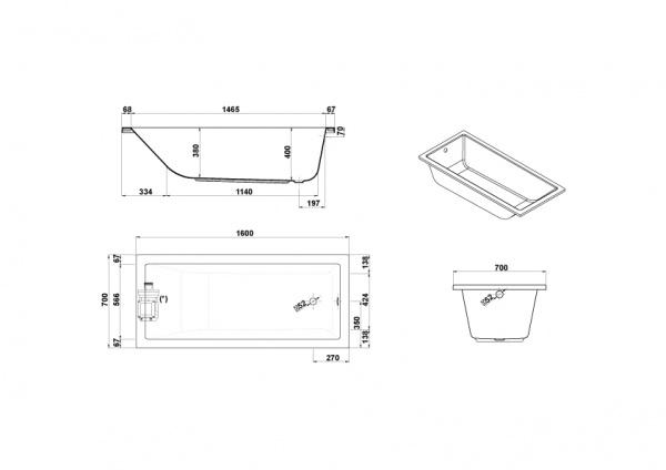 medidas bañera gala mitta 160x70 con hidro dorsal