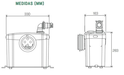esquema medidas bomba trituradora sanitrit
