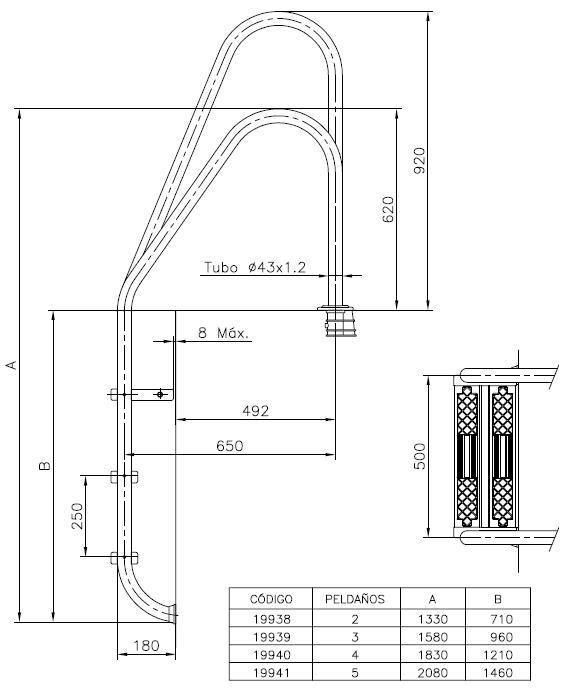 Escalera para piscina standard asim trica astralpool for Escaleras de piscina