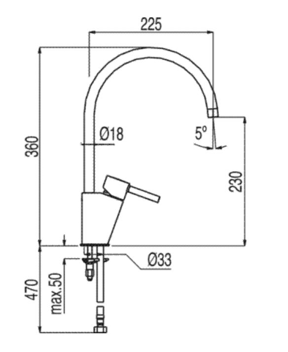 Baño Familiar Medidas:Grifo de cocina Tres Alplus caño giratorio