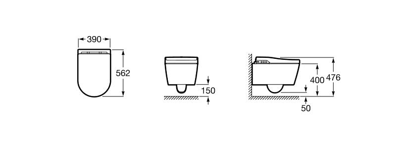 Inodoro roca smart toilet in wash suspendido for Medidas inodoro roca