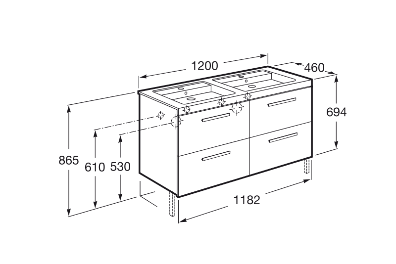 Mueble de ba o lavabo doble roca prisma 4cajones 120cm for Medidas estandar de cajones de cocina