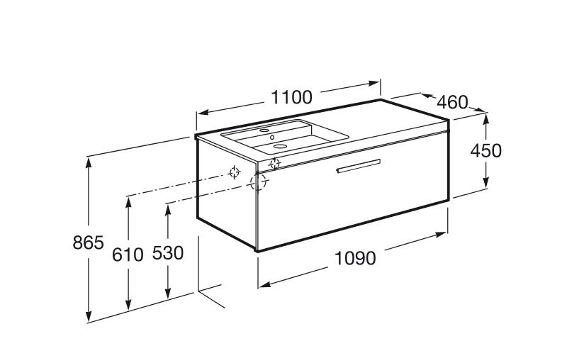 Mueble base con un cajón y lavabo izquierdo Roca Prisma 1100x460 mm gris antracita