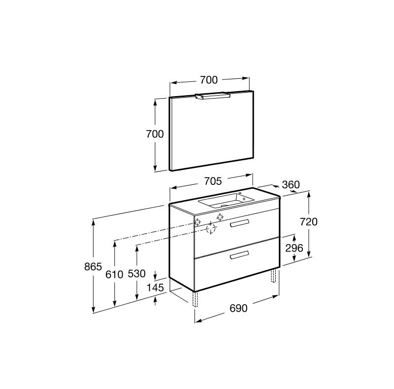 Mueble de baño Roca Debba dos cajones, lavabo doble, espejo y aplique LED 70x36 roble texturizado