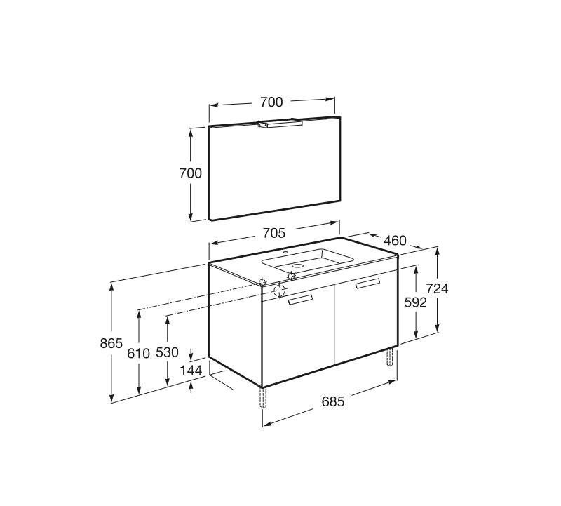 Muebles Para Baño Wengue:Mueble de baño Roca Debba puertas, lavabo, espejo y aplique LED 70×46