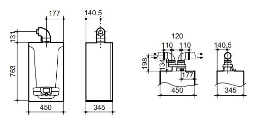 medidas caldera de condensación Baxi Platinum Max plus