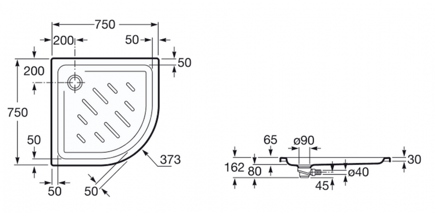 Plato de ducha angular roca easy 75x75 - Medidas de los platos de ducha ...