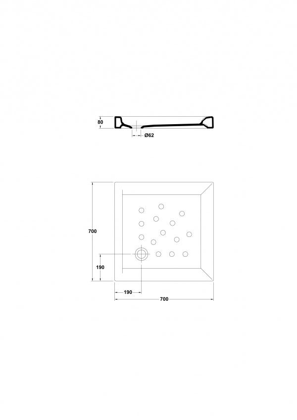 medidas plato de ducha angular gala atlas 70x70