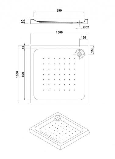 medidas plato de ducha cuadrado gala esfera 100x100