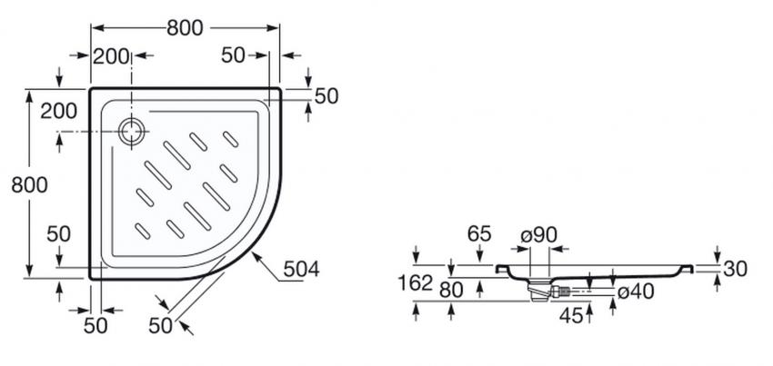 Plato de ducha angular 80x80 for Medidas de duchas para banos