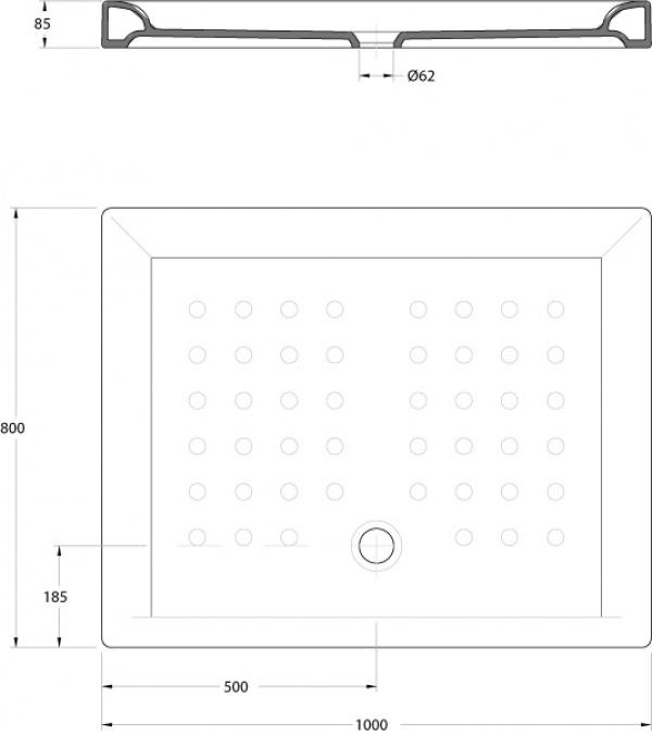 Medidas De Duchas Rectangulares.Plato De Ducha Rectangular Gala Atlas 100x80