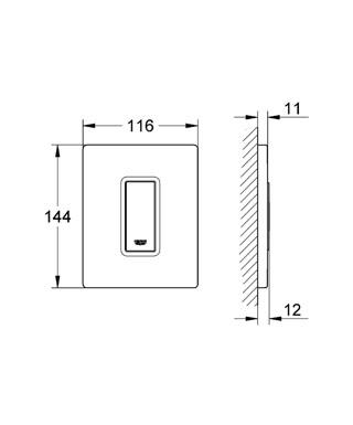 medidas Skate Cosmopolitan rectangular Grohe