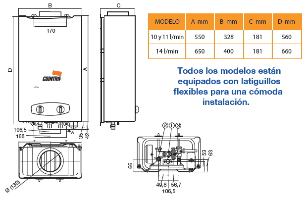 Calentador de gas butano cointra cob 10 - Cuanto cuesta un calentador de gas ...