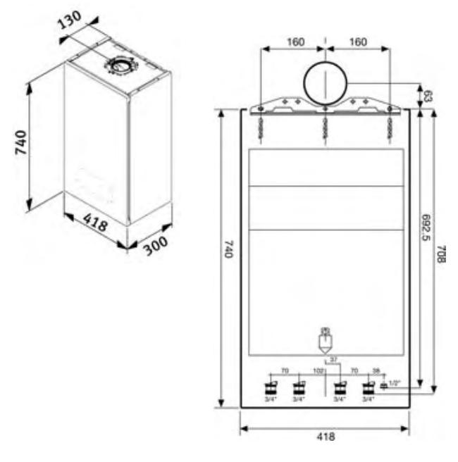 Medidas caldera de condensacion Saunier Duval Thelia Condens