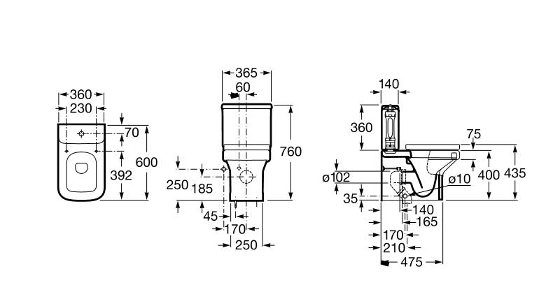 Medidas Baño Inodoro:Roca tanque inodoro completo blanco DAMA-N compacto alimentación